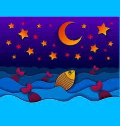 Beautiful night seascape with funny cartoon vector