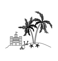 black silhouette of sandcastle and island with vector image