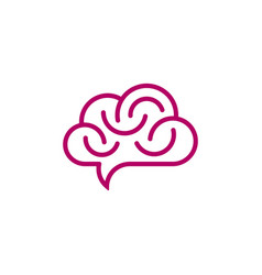 Brain and cloud shaped speech bubble vector