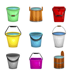 bucket bright set open container with a handle vector image