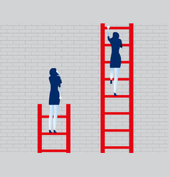 Business person watching leader climb on ladder vector