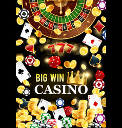 casino poker roulette big win jackpot gold coins vector image