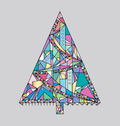Christmas tree hand drawn happy new vector