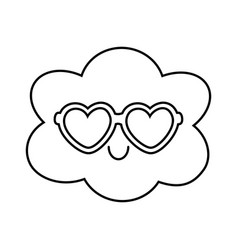 Cloud with heart sunglasses black and white vector