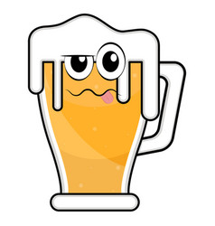 colored drunk beer glass icon vector image