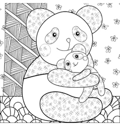 Coloring page cute panda hugging his baby vector