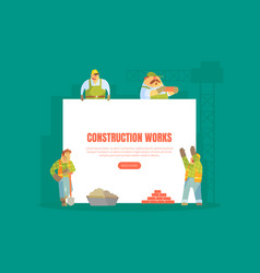construction works landing page template vector image