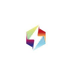 creative abstract colorful hexagon thunder logo vector image
