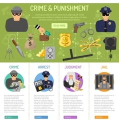 Crime and punishment infographics vector