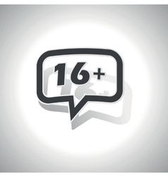 Curved 16 plus message icon vector