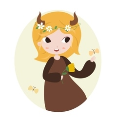 Cute horoscope Zodiac signs Taurus vector image