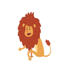 Cute lion cub cartoon character sitting on the vector