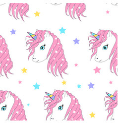 cute unicorn and magic icons seamless pattern vector image