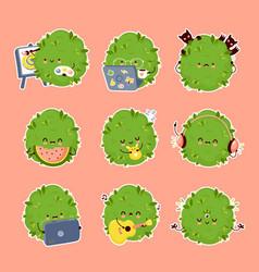 Cute weed marijuana bud set collection vector