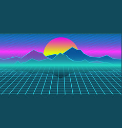 Cyberpunk retro computer background mountains vector