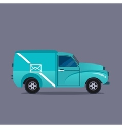 Delivery blue van icons collection vector image