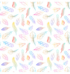 different colorful exotic feathers on white vector image