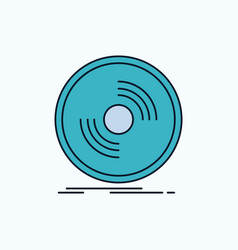 disc dj phonograph record vinyl flat icon green vector image