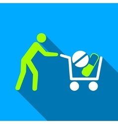 Drugs Shopping Cart Flat Long Shadow Square Icon vector