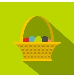 Easter basket icon flat style vector