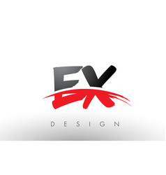 Ex e x brush logo letters with red and black vector