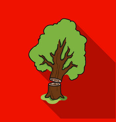 Falling tree icon in flat style isolated on white vector