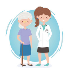 Female physician and old woman medical staff vector