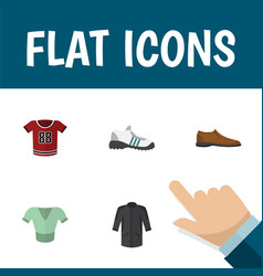 Flat icon garment set of sneakers male footware vector