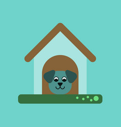 flat icon on background dog in booth vector image