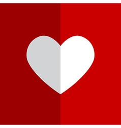 Flat white heart on red background vector