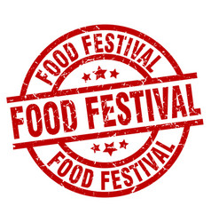 food festival round red grunge stamp vector image