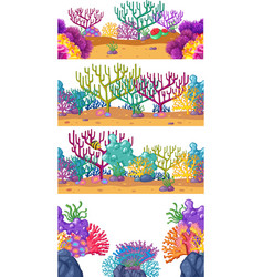 Four scenes with coral reef underwater vector