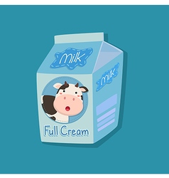 Full Cream Milk Packaging with Cow Face vector image