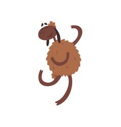Funny happy sheep character jumping cartoon vector