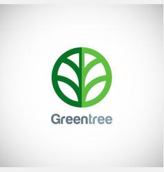 Green tree round icon logo vector