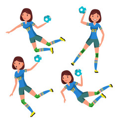 Handball player female player in attack vector