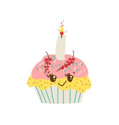 Happy cute delicious cupcake cartoon character vector