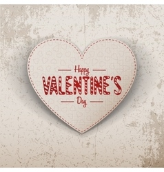 Happy Valentines Day realistic paper Heart Label vector image