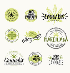 hashish rastaman hemp cannabis logos vector image