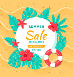 hello summer sale background with tropical leaves vector image