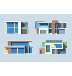 Houses linear 8 color vector image