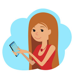 in flat style icon girl with vector image