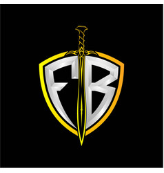 Initials f b is a shield decorated vector