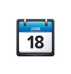 June 18 Calendar icon flat vector