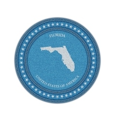 label with map florida denim style vector image