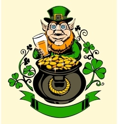 Leprechaun is standing next to a pot of gold vector image