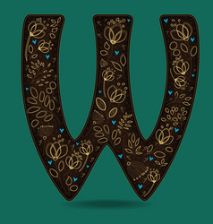 Letter w with golden floral decor vector