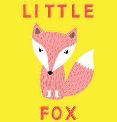 little fox slogan animal for vector image
