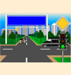 Main road city intersection vector