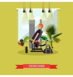 Man working out in a gym Healthy lifestyle vector image